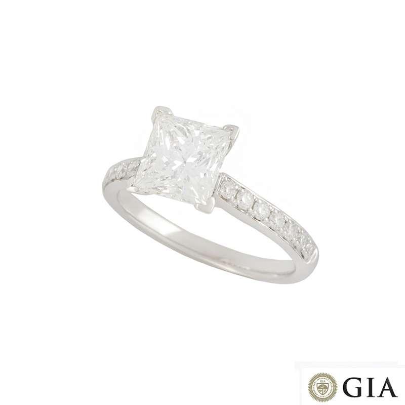 18k White Gold Princess Cut Diamond Ring 1.87ct G/VVS2